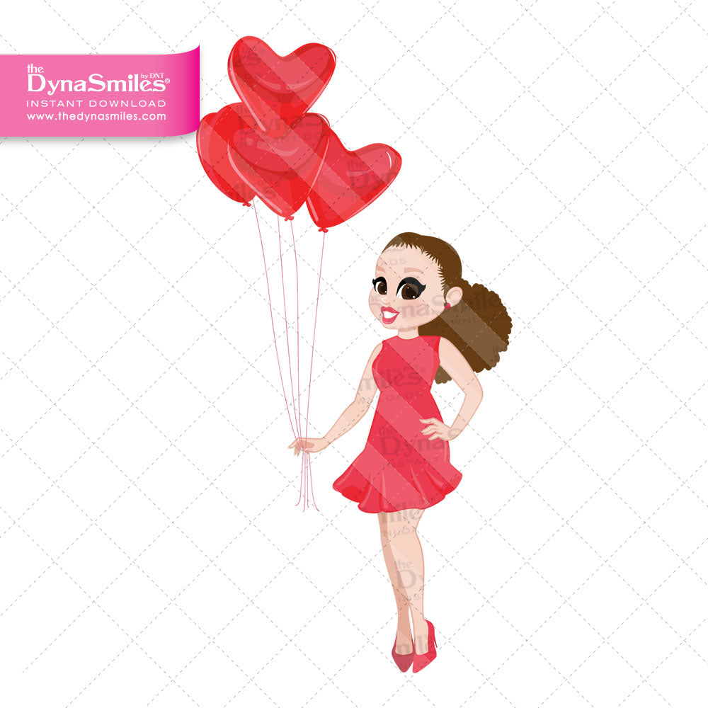 "03 ""Posing With Hearts"" Doll, Clip Art, Loving Me Graphics"