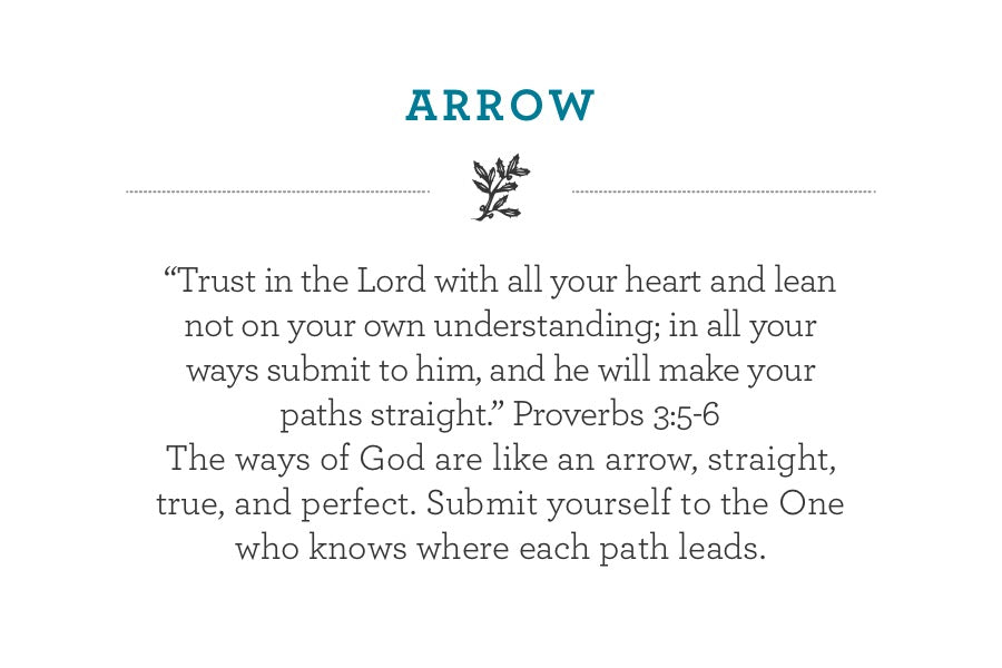 """Trust in the Lord with all your heart and lean not on your own understanding; in all your ways submit to him, and he will make your paths straight."" Proverbs 3:5-6 The ways of God are like an arrow, straight, true, and perfect. Submit yourself to the One who knows where each path leads."