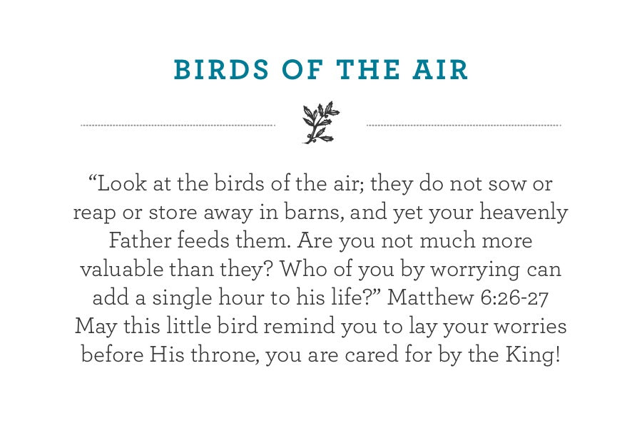"""""""Look at the birds of the air; they do not sow or reap or store away in barns, and yet your heavenly Father feeds them. Are you not much more valuable than they? Who of you by worrying can add a single hour to his life?"""" Matthew 6:26-27 May this little bird remind you to lay your worries before His throne, you are cared for by the King!"""