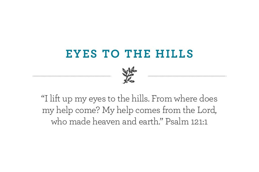 """I lift up my eyes to the hills. From where does my help come? My help comes from the Lord, who made heaven and earth."" Psalm 121:1"