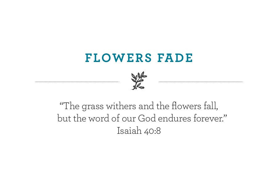"""The grass withers and the flowers fall, but the word of our God endures forever."" Isaiah 40:8"