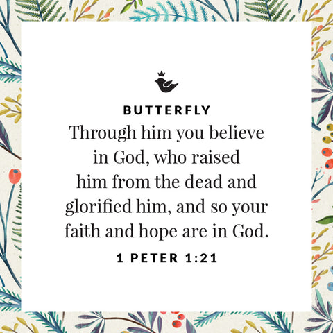 Through him you believe in God, who raised him from the dead and glorified him, and so your faith and hope are in God.  1 Peter 1:21