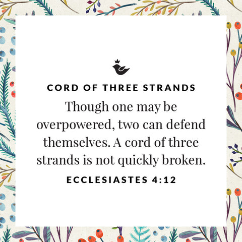 Though one may be overpowered, two can defend themselves. A cord of three strands is not quickly broken. Ecclesiastes 4:12