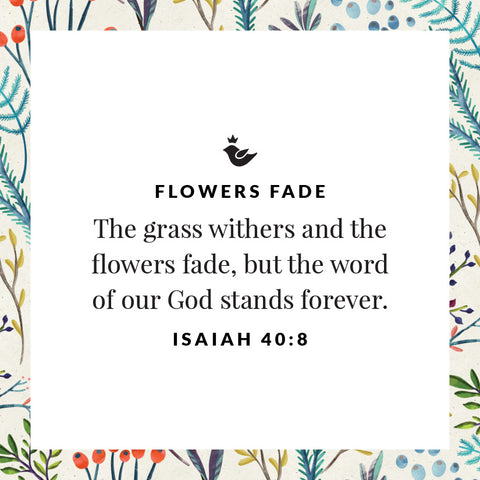 The grass withers and the flowers fade, but the word of our God stands forever. Isaiah 40:8