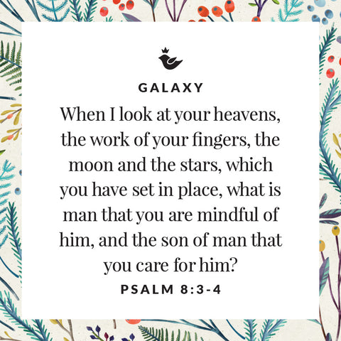 When I look at your heavens, the work of your fingers, the moon and the stars, which you have set in place, what is man that you are mindful of him, and the son of man that you care for him? Psalm 8:3-4