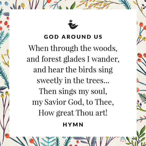 When through the woods,  and forest glades I wander, and hear the birds sing  sweetly in the trees... Then sings my soul,  my Savior God, to Thee, How great Thou art! hymn