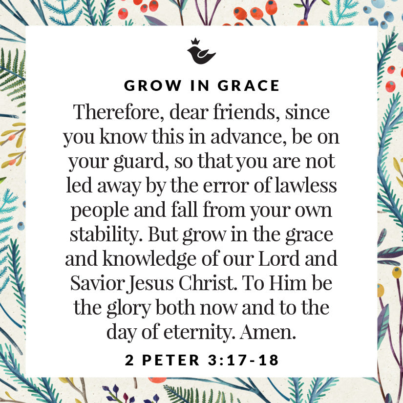 Therefore, dear friends, since you know this in advance, be on your guard, so that you are not led away by the error of lawless people and fall from your own stability. But grow in the grace and knowledge of our Lord and Savior Jesus Christ. To Him be the glory both now and to the day of eternity. Amen. 2 Peter 3:17-18
