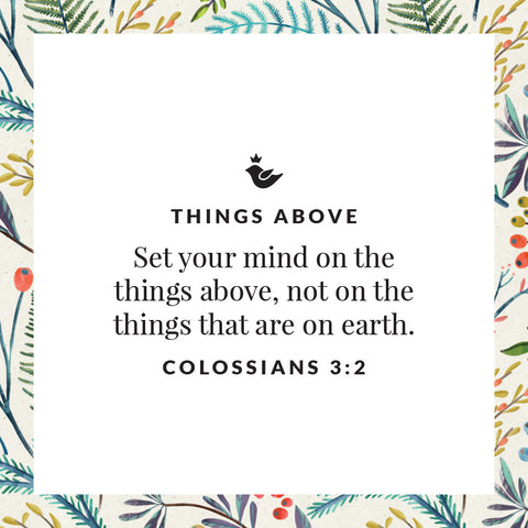 Set your mind on the things above, not on the things that are on earth. Colossians 3:2