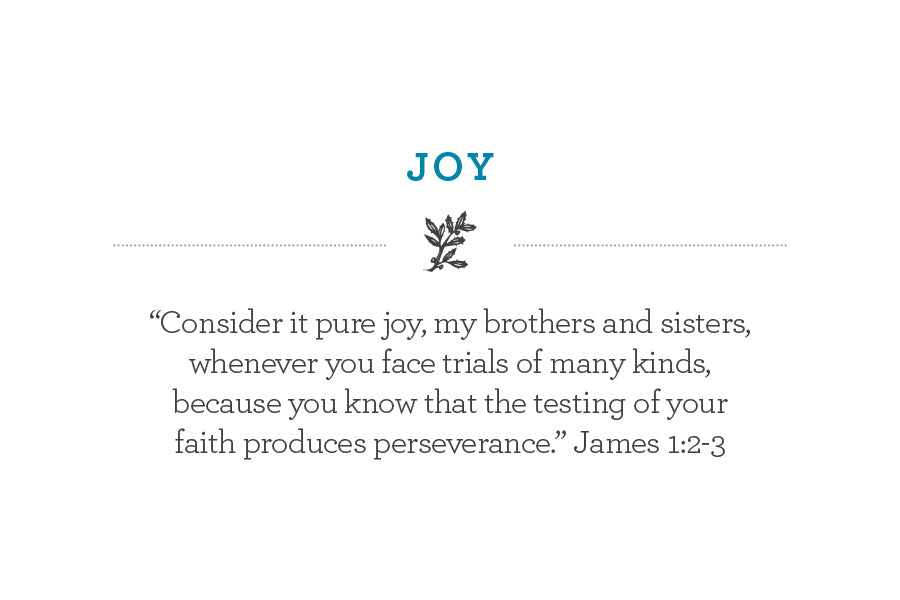 """Consider it pure joy, my brothers and sisters, whenever you face trials of many kinds, because you know that the testing of your faith produces perseverance."" James 1:2-3"