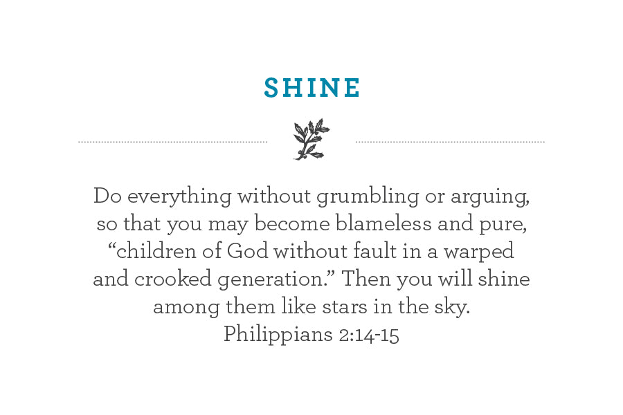 "Do everything without grumbling or arguing, so that you may become blameless and pure, ""children of God without fault in a warped and crooked generation."" Then you will shine among them like stars in the sky. Philippians 2:14-15"