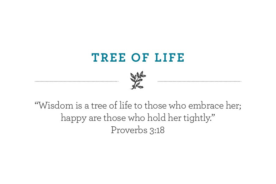 """Wisdom is a tree of life to those who embrace her; happy are those who hold her tightly.""  Proverbs 3:18"