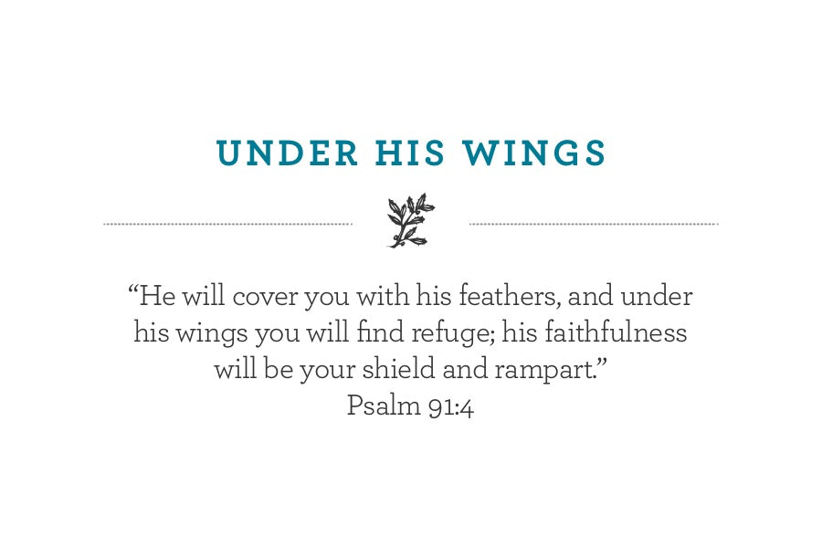 """He will cover you with his feathers, and under his wings you will find refuge; his faithfulness will be your shield and rampart.""  Psalm 91:4"