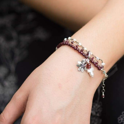 Holly Lane Christian Jewelry - Garnet and Pearl Slide Bracelet