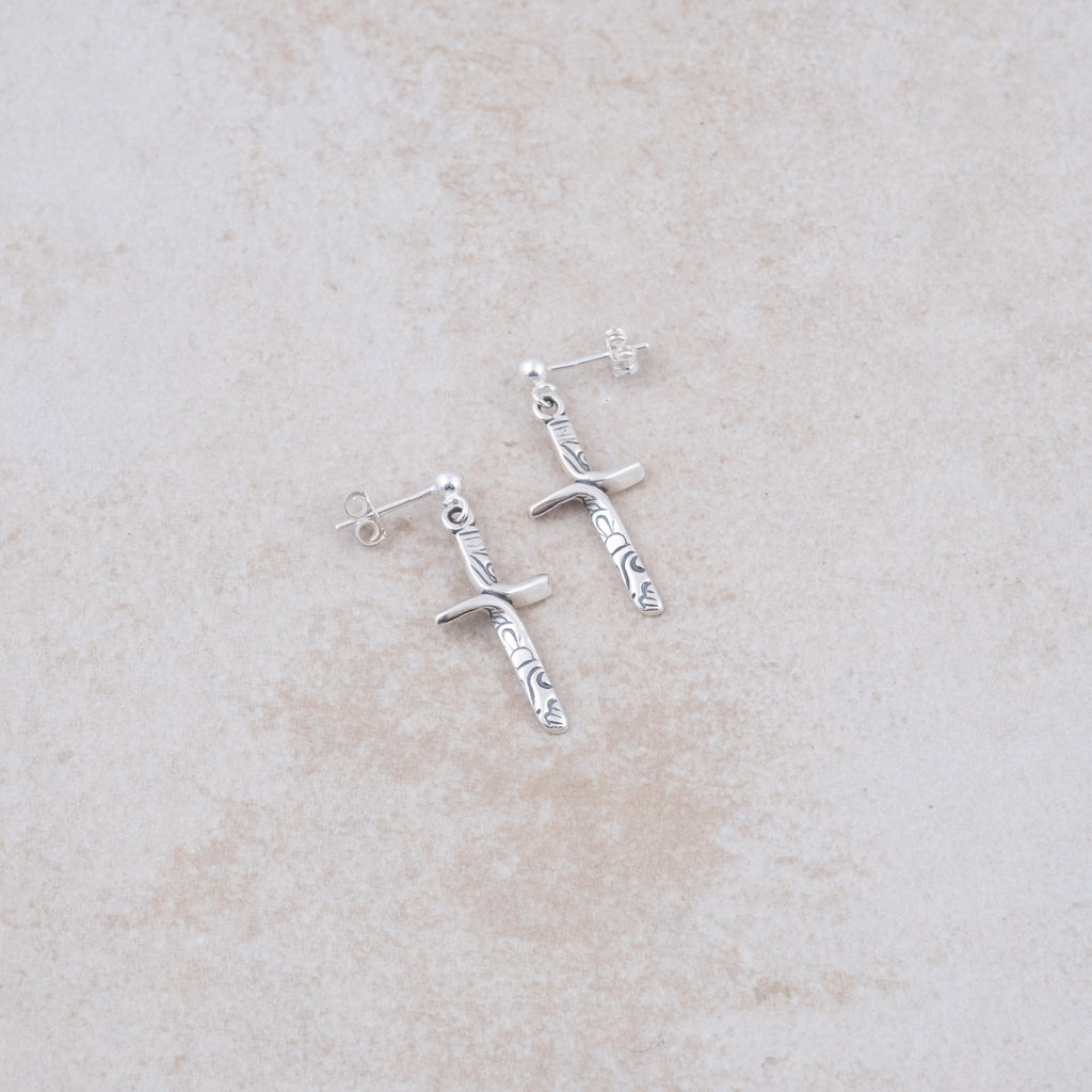 Ribbon Cross Earrings