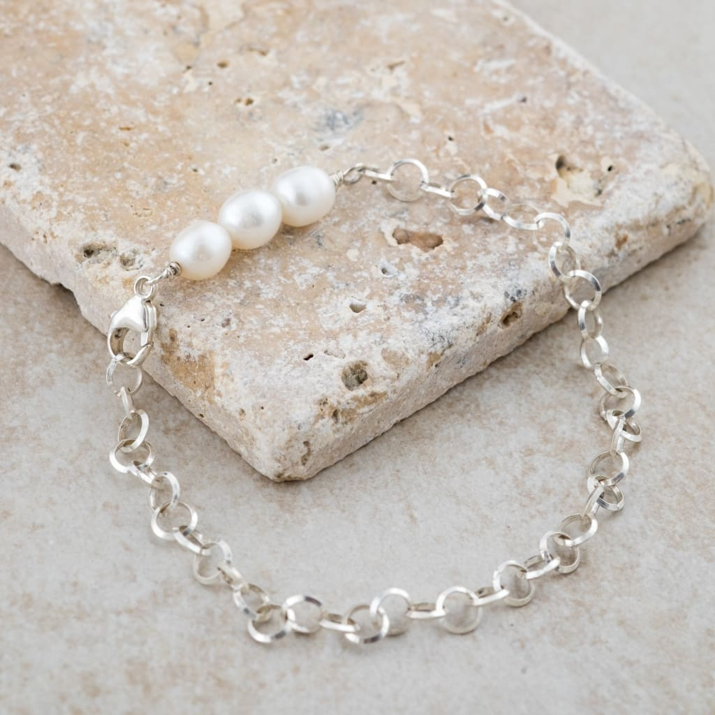 Holly Lane Christian Jewelry - White Pearl Charm Bracelet