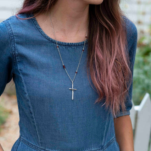 Ribbon Cross Necklace