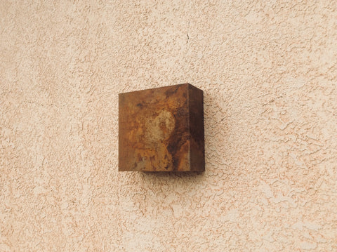 Rusted Steel // Square Light Sconce // Metal Lighting // Mike Dumas Copper Designs