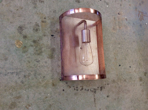 Copper Mesh & Steel / Light Sconce