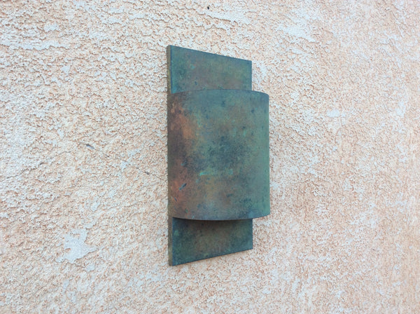 All Copper / Verdigris / Contemporary Half Round / Light Sconce