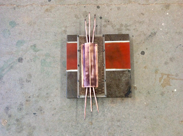 Copper Wall Art / Copper on Red on Steel / Square Art