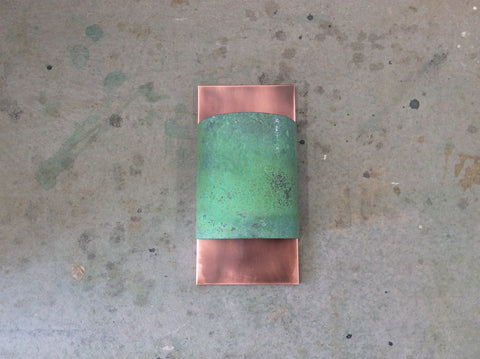 Copper light sconce with Verdigris Copper band