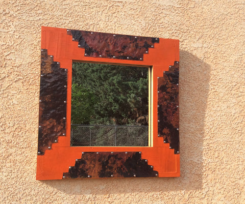 Mirror / Wood + Copper / Sunset Orange / Square