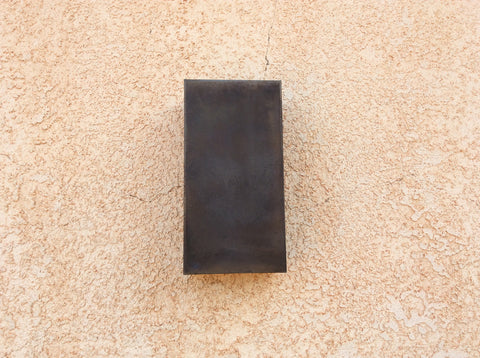 Rectange // Steel // patinaed // wall light sconce by Mike Dumas Copper Designs.