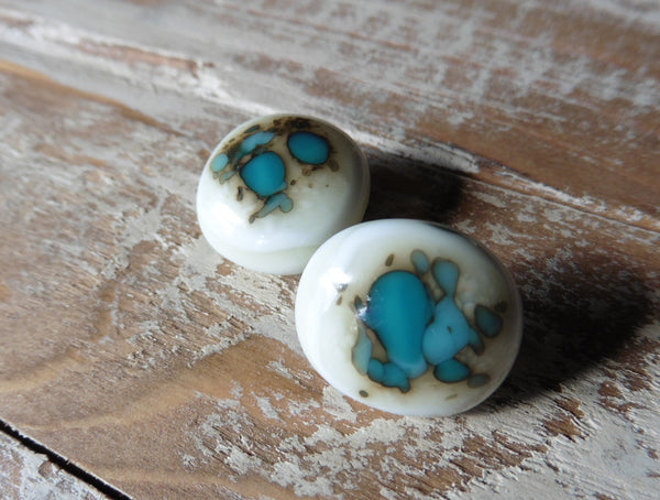 Fused glass // earrings // posts // turquoise green // jewelry by julie Dumas of Mike Dumas Copper Designs.