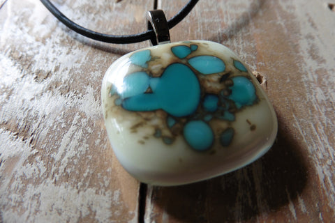 Fused glass jewelry // pendant style // Turquoise Green // white square necklace by Mike Dumas Copper Designs