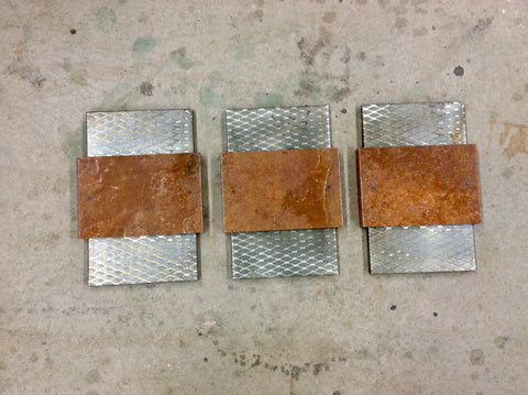 Rusted Steel/ Expanded steel patinaed 3 piece Wall Art.