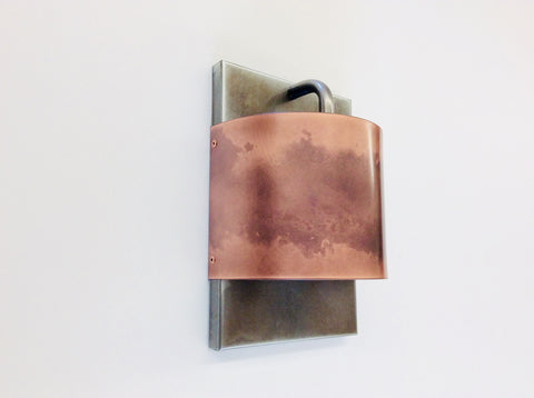 Small Contemporary Copper and Steel / Light Sconce