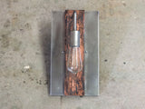 Steel lighting // sconce // goose-neck // vintage look bulb // Contemporary style wall light by Mike Dumas Copper Designs.