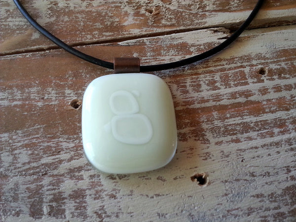 Fused glass jewelry // pendant necklace // white // summer colors at Mike Dumas Copper Designs.