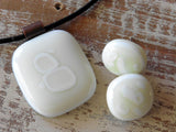 Fused glass jewelry // post earrings // white // vanilla cream jewelry by Mike Dumas Copper Designs.
