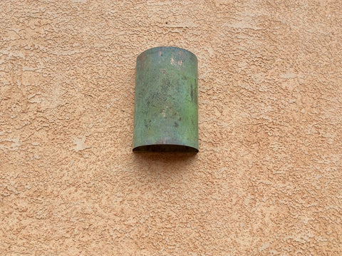 Light Sconce / Copper Verdigris / Half Round