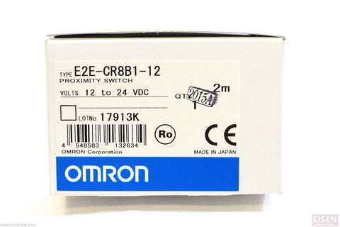 OMRON proximity switch E2E-CR8B1, 2 Meter cable, PNP, N/O, 12 to 24VDC