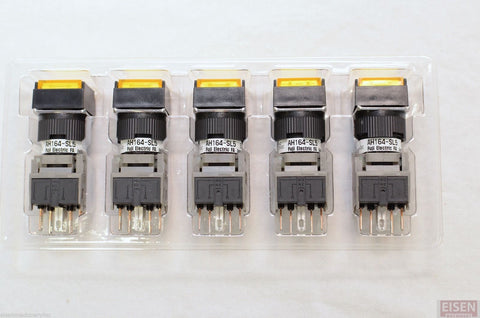 FUJI AH164-SL5Y11E3 Yellow Pushbutton Command Switch 24VDC LED (Pack of 5)