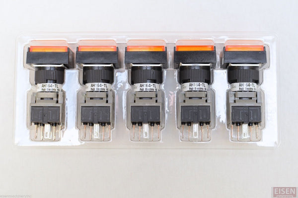 FUJI AH164-TLO11E3 Orange Pushbutton Command Switch 24VDC LED (Pack of 5)