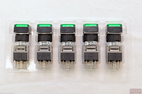 FUJI AH164-SL5G11E3 Green Pushbutton Command Switch 24VDC LED (Pack of 5)