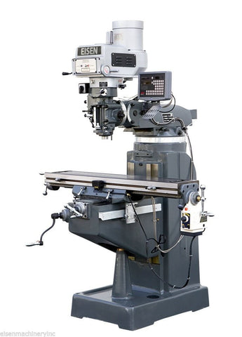 EISEN R-2A 9x49 Vertical Milling Machine, 3HP, DRO and Powerfeed Included