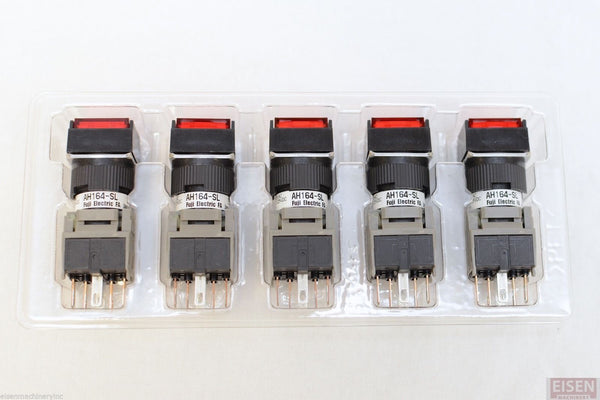 FUJI AH164-SLR11E3 Red Pushbutton Command Switch 24VDC LED (Pack of 5)