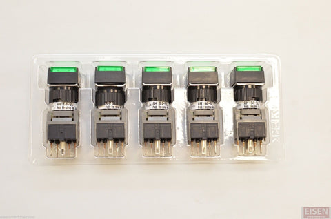 FUJI AH164-SLG11E3 Green Pushbutton Command Switch 24VDC LED (Pack of 5)