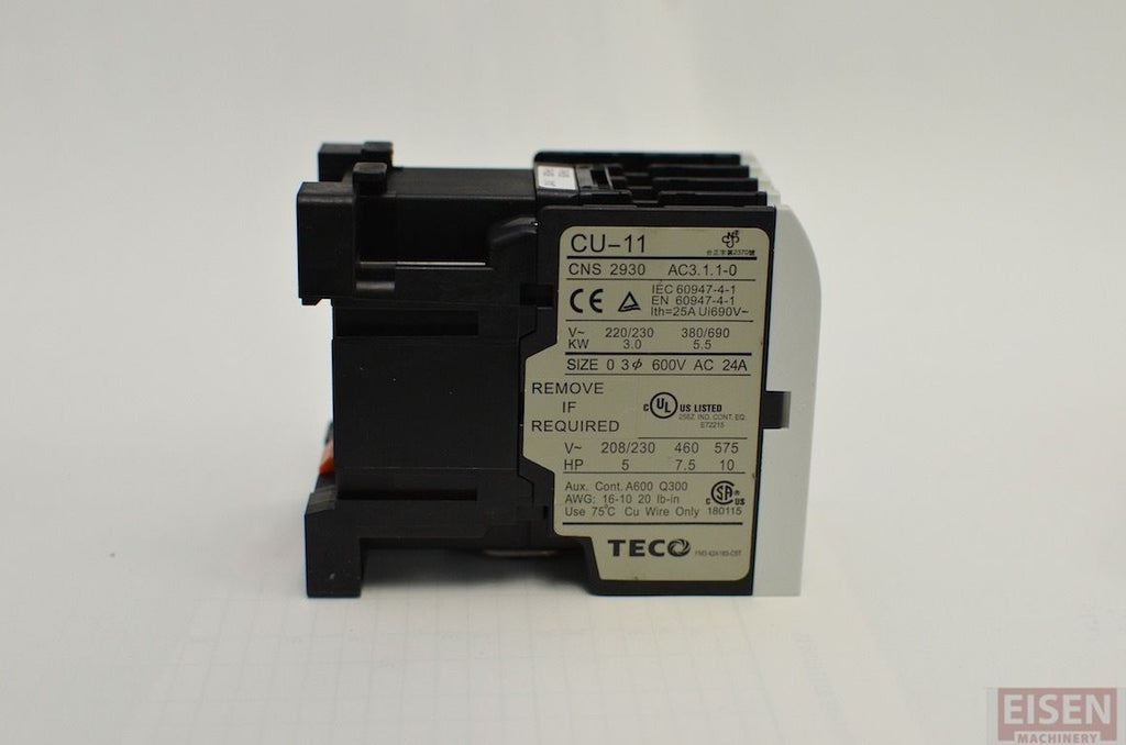 Normally Open Switch >> TECO CU-11 Magnetic Contactor, 24V coil, 3A1a, Normally Open, (TAIAN C – Eisen Machinery Inc
