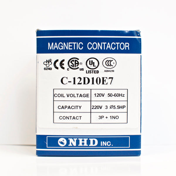 NHD C-12D10E7 magnetic contactor for 5.5HP motor, 120V coil, normally open