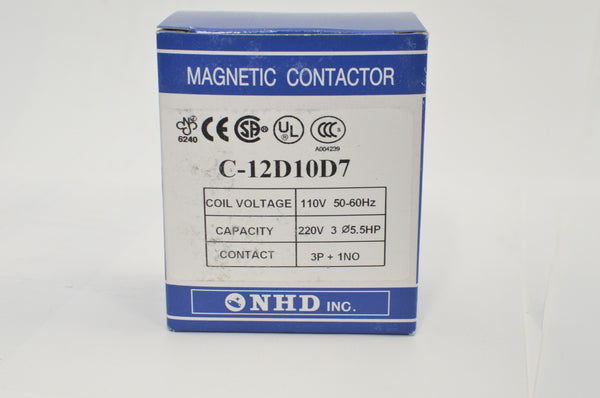 NHD C-12D10D7 magnetic contactor for 5.5HP motor, 110V coil, normally open