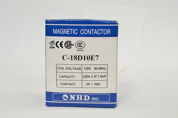 NHD C-18D10E7 magnetic contactor for 7.5HP motor, 120V coil, normally open