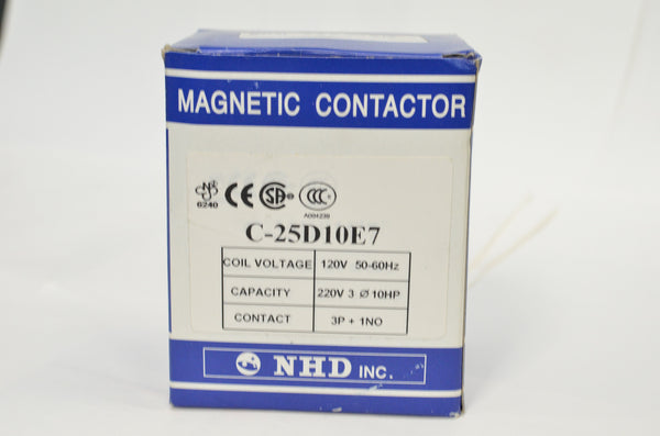 NHD C-25D10E7 magnetic contactor for 10HP motor, 120V coil, normally open