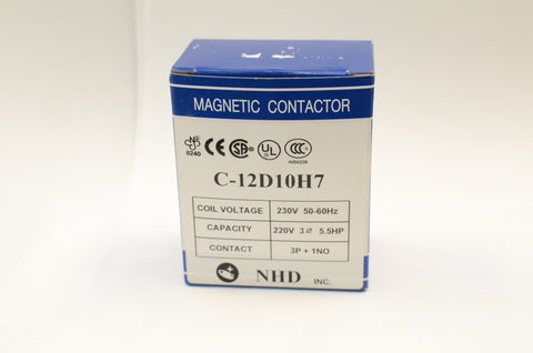 NHD C-12D10H7 Magnetic Contactor for 5.5HP Motor, 230V coil, Normally Open
