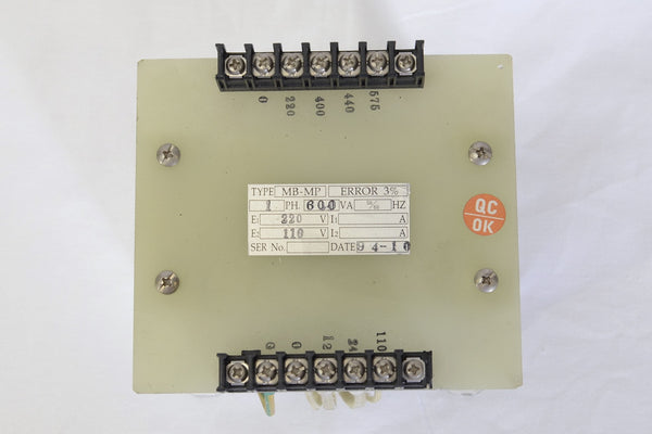 600VA Single-phase AC Control Transformer PRI: 220/400/440/575V SEC: 110/24/12V