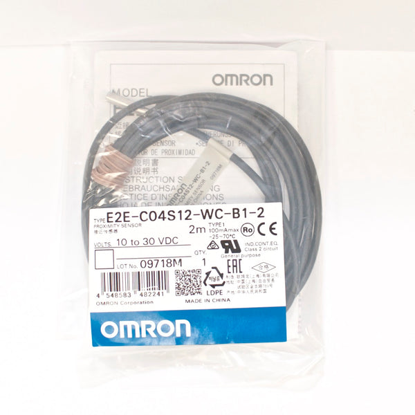OMRON Proximity Sensor E2E-C04S12-WC-B1-2, PNP, NO, 2M cable, Replace E2E-CR8B1